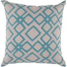 "Found it at Wayfair - Surya Divine Diamond Linen Throw Pillow - Size: 18"" H x 18"" W, Color: Aqua, Filler: Polyester"