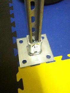 Floor plate for unistrut upright.  Unistrut Squat and Bench Rack