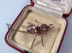 Victorian ant brooch, amethyst and gilt