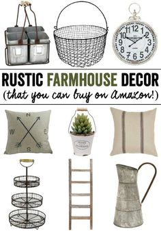 Rustic Farmhouse Decor (that you can buy on Amazon!). Check out these awesome deals that you can shipped right to your door! #farmhouse #rustic #affiliate