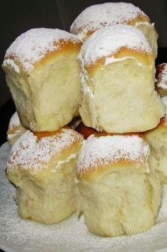 Buchty, one of the most enjoyable comfort food I remember. Slovak Recipes, Czech Recipes, Czech Desserts, Baking Recipes, Dessert Recipes, Tasty, Yummy Food, Food Inspiration, Sweet Recipes