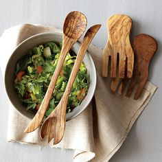 Olive wood salad servers - Style At Home