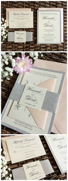 Blush Pink and Silver Glitter Wedding Invitation by CZ Invitations. Click to see this and 100 other options for your big day! Choose from our gallery or let us make your vision a reality.