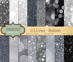 """Silver Bokeh & Glitter Digital Paper by Origins Digital Curio. This is a pack of 16 digital silver bokeh backgrounds, featuring a range of effects from delicate sparkles to fuzzy background lights. Each digital paper has a unique design, sure to dazzle! Use them in scrapbooking, web design, invitations and cards, or any of your creative projects! Each paper measures 12""""x12"""" (30.48 cm) and has 300 dpi resolution. affiliate"""