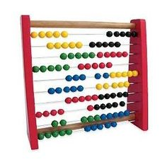 with a 10 bead abacus It is best if the abacus has five beads in alternating colors, like on the abacus in the right. Then the child will easily recognize 6, 7, and 8 beads without counting.
