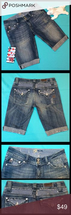 """MISS ME Distressed Bermuda Jean Shorts Sz 28 MISS ME Distressed Bermuda Jean Shorts Sz 28. In good used condition. Low rise fit, frayed hem, distressed & faded look. 2 back buttoned flap pockets. 2 side pockets w/a small pocket on right side. Cute design features ripped look w/blue & white striped material showing through.  Style # JP4497 Size: 28 Color: Seville (distressed blue) Material: 98% Cotton/2% Elastin  Inseam: 10 1/2"""" Rise: 7 5/8""""  🏆 Suggested User 💗Bundles 👍🏼Reasonable Offers…"""