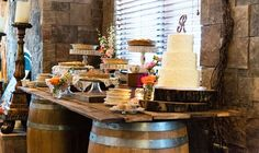LOVE this cake table!! http://www.countryoutfitter.com/style/real-country-wedding-emily-reuschel/
