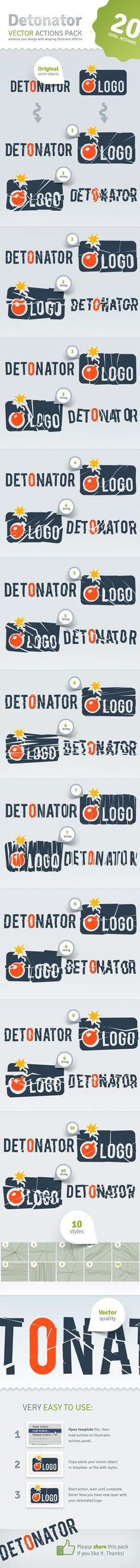 Buy Vector Detonator - Illustrator Actions Pack by Kontramax on GraphicRiver. vector actions pack for Adobe Illustrator and above wich allow to detonate your logo, text or any vectors in . Ai Illustrator, Illustrator Tutorials, Logo Shapes, Tool Design, Typography Design, Packing, Just For You, Graphic Design, Illustration