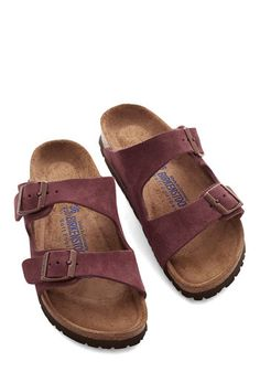 Strappy Camper Sandal in Burgundy Suede by Birkenstock - Flat, Leather, Red, Solid, Buckles, Casual, Boho, Vintage Inspired, 70s, Festival, Variation