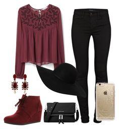 """Fall outfit"" by itzelcori on Polyvore featuring moda, J Brand, MANGO, City Classified, Monki, Oscar de la Renta, MICHAEL Michael Kors y Rifle Paper Co"