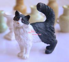 White Black Cat  1/6 scale Barbie DOLL Dollhouse Miniature