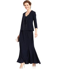 b365978a2e Alex Evenings Jewel-Trim Ruched Gown and Jacket simple elegance. Macy s  Mother Of The