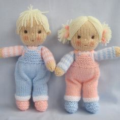 Pattern is written in ENGLISH. Other languages NOT available.  INSTANT DOWNLOAD - PDF download button is on your Purchases and reviews page (to find this click on You top right of page).  JACK and JILL Knitting pattern contains instructions for these cute little JACK and JILL dolls. Their clothes cannot be removed.  SIZE: Jack and Jill - 23cm (9in)  NEEDLES: knitted on two straight 3.25 mm needles (US 3)  YARN: DK (double knitting) yarn. (USA - light-worsted/Australia - 8 ply). SKILLS RE...