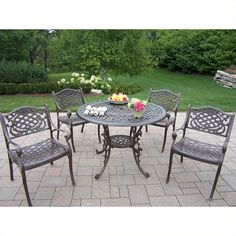 Oakland Living 5 Piece Metal Patio Dining Set ($1,426) ❤ liked on Polyvore featuring home, outdoors, patio furniture, outdoor patio sets, bronze, outdoor dining sets, 5 piece dining table set, metal outdoor furniture, 5 piece outdoor patio set and outdoor furniture