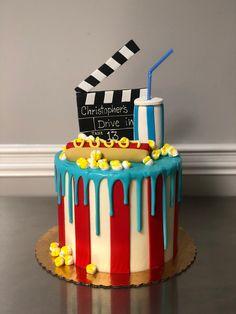 Movie Theme Cake, Movie Cakes, Movie Party, 12th Birthday Cake, Twin Birthday Cakes, Mad Hatter Cake, Dad Cake, Crazy Cakes, Birthday Cake Decorating