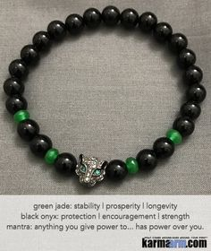 Yoga Bracelets. Men Women. Manifestation Beaded Prayer Mantra Spiritual Mala. Law of Attraction. #LOA Energy Healing. Black Onyx Panther Green Jade.