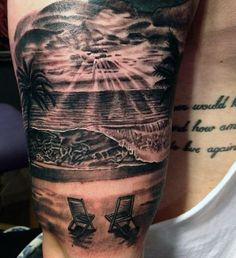 Another grayscale beach tattoo design showing two wooden chairs on the shore facing the beach waves as the sun is slowly rising from the clouds. Sunset Tattoos, Ocean Tattoos, Forearm Tattoos, Body Art Tattoos, Trendy Tattoos, Tattoos For Guys, Cool Tattoos, Beach Theme Tattoos, Beach Tattoos