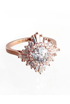 Brides.com: Unique Engagement Ring Settings Solitaire diamond beaded engagement ring with surprise diamonds in 18K rose gold, price upon request, RitaniPhoto: Courtesy of Ritani