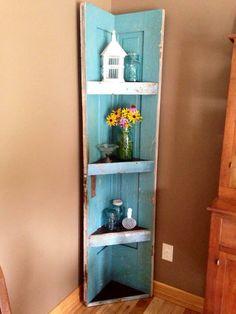 Antique door corner book shelf