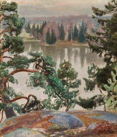 From Sarvikallio by Pekka Halonen, 1916 Scandinavian Paintings, Scandinavian Art, Nordic Art, Old Paintings, Landscape Paintings, Romanticism Paintings, Russian Painting, Watercolor Trees, Painting Gallery