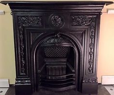 Original Antique Victorian Edwardian Cast Iron Fireplace For Lounge Unused