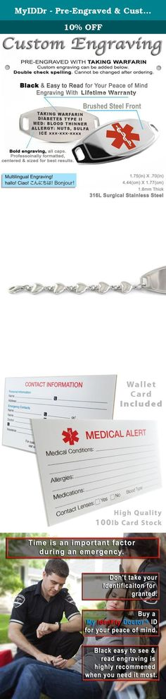 MyIDDr - Pre-Engraved & Customizable Warfarin ID, Medical Alert Bracelet, Heart Chain (Red). This custom engraved TAKING WARFARIN medical bracelet is neatly styled with silky smooth steel heart links. The medical alert ID bracelet is made from 316L steel and is not only cute but durable. Our ladies TAKING WARFARIN bracelets can be worn all day and water will not affect this item. My Identity Doctor engraves all of our medical ID bracelets in a bold BLACK font. (Please see photos) This…