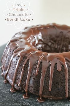 In the mood for chocolate? I don't know about you, but I'm ALWAYS in the mood for chocolate! This Easy Triple Chocolate Bundt Cake is mad. Chocolate Bundt Cake, Chocolate Desserts, Chocolate Tarts, Chocolate Fudge, Sweets Cake, Cupcake Cakes, Cupcakes, Just Desserts, Delicious Desserts