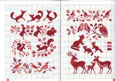 Forest animals in red