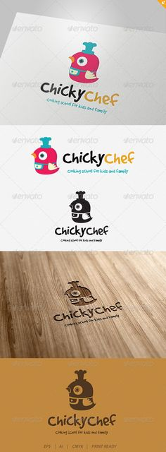 Chicky Chef Logo #GraphicRiver This logo design for Cooking School for kids and family. Logo Template Features