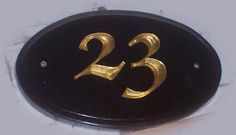Handcarved house number.  Hand painted and gold leafed High Density Urethane.  Created by Jackie Shields, www.saugeensignworks.com Hand Carved, Hand Painted, House Numbers, Carving, Signs, Gold, Painting, Accessories, Joinery