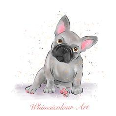 French Bulldog art print - dog art mounted print by WhimsicolourArt on Etsy