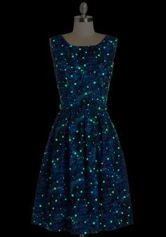 Just Be Cosmic Dress   Mod Retro Vintage Dresses . Glow in the dark dress!!!  ModCloth.com. made in usa.