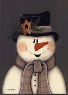 Star Snowman ~ Fine-Art Print - Christmas Art Prints and Posters - Christmas Pictures