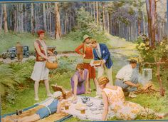 "This painting is ""In the blue Gums' Azure Shade-An Australian Bush picnic"", by the artist Fortunino Matania Vintage Picnic, Vintage Party, Vintage Ads, Australian Native Garden, Australian Bush, Bbq World, What A Nice Day, Road Trip To Colorado, Company Picnic"
