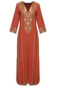 Reddish brown embroiderd kalidaar kurta set by Seema Khan. Shop now: http://www.perniaspopupshop.com/designers/seema-khan #kurtaset #seemakhan #shopnow #perniaspopupshop