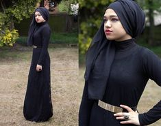 Al Madina Hijabs Black Scarf, Asos Polo Neck Top, Maleka Abaya'z Black Lace Maxi Dress, Ebay Gold Plate Belt, Ebay Black Stone Ring