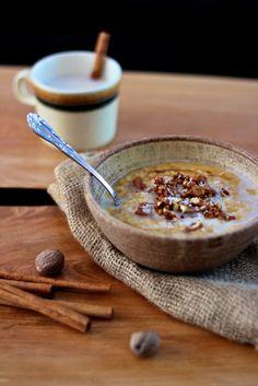 Warm pumpkin millet porridge. A hearty, warming, breakfast for those cold winter mornings. Vegan, gluten free