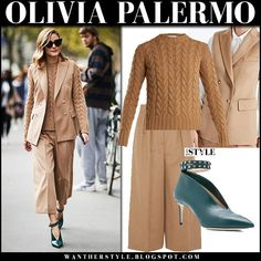 Olivia Palermo in camel sleeveless jacket, camel knit sweater, camel trousers and green booties at Paris Fashion Week