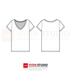 Width: 22 Centimeters AI vector file compatible with Adobe Illustrator CC EPS vector file compatible with Adobe Illustrator PDF file can easily be printed on paper as well copyright © 2019 by HYDN Studio Ltd Fashion Design Template, Fashion Templates, T Shirt Sketch, Flat Sketches, Fashion Poses, Fashion Flats, Fashion Prints, V Neck T Shirt, Shirt Style