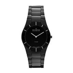 Black Titanium Watch Lightweight material combines with Swiss Movement to create an exquisite watch.  Case and links made of Titanium have a featherlight feel, while the mirror border follows the shape of the links and reflects the light beautifully. A shiny black dial complements the color of the watch.