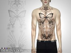 Imagination Chest Tattoo N07 by Pralinesims at TSR via Sims 4 Updates