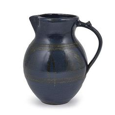 Jug, Stoneware, deep blue glaze with olive green ear of wheat design, impressed MC seal Ceramic Pitcher, Ceramic Jars, Earthenware, Stoneware, Ceramic Studio, Contemporary Ceramics, Tea Bowls, Handmade Pottery, 3 D