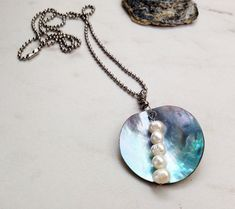 Mussel Shell Pearl Drop Necklace, Real shell with a five pearl freshwater pearl drop. Special deal jewelry gift for her