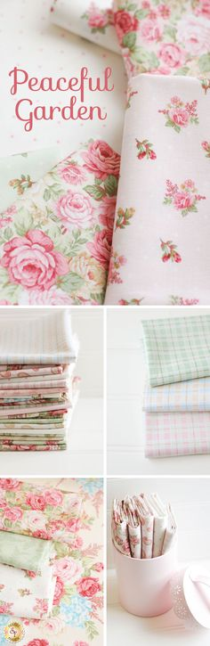 Peaceful Garden - Henry Glass Fabrics Create a soft throw or beautiful bedspread with the Peaceful Garden fabric line designed by Mary Jane Carey. Offered by Henry Glass Fabrics, this collection features bold florals, tonal designs, and simple paisleys. Incorporate a muted tartan or tiny polka dots next to a fabric with tight-packed roses. Add romance and sophistication to your fabric collection with the Peaceful Garden collection!