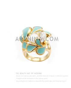 high quality 14k gold plated fashion rings with pretty light blue paiting and teardrop zircon