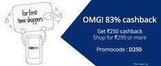Check out the #paytm OMG offer! Get 250 #cashback on order over Rs. 299 & above.