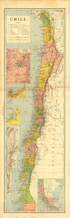 Antiguo Mapa de  Chile  1899