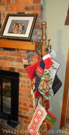 Family stocking tree for when you have too many stockings and not enough room to hang them