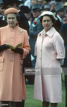 Queen Elizabeth ll and her sister Princess Margaret attend the Epsom Derby on June 06, 1979 in Epsom, England.