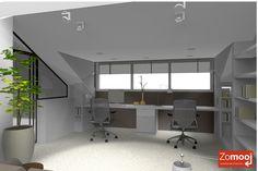 Witte plank als bureau onder het raam